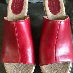 Boc Born Red Leather Wedge Sandals